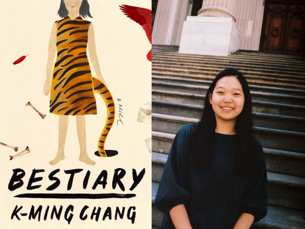 Image of the book Bestiary alongside the author, K-Ming Chang